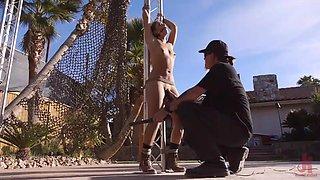 tied sex slave in the backyard