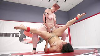 Mistress Kara and Izamar Gutierrez fighting and fucking with a strapon