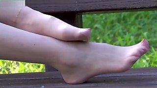 Asian Teen Teasing Sexy Pantyhose Feet in Public