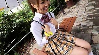 Sweet Japanese schoolgirl braces herself for a deep pounding