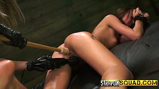 Mistress in latex fucks tied up hooker Marina Angel and makes her slit dripping