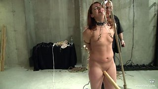 Dirty older guy loves pleasuring puss and tits of his slave girl