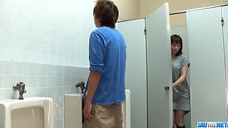 Riho Mikami sucks a stiff dick in a public toilet  - More at 69avs.com