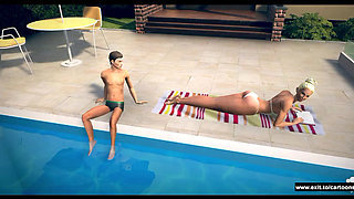 seductive stepmom by the pool