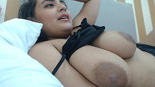 Big breasts, large areola with big nipples on girl teasing
