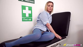 Lewd alone nurse Anna Belle exposes bum and her pink meaty cunt