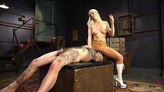 Eccentric Blonde Mistress Punishing Her Submissive Man