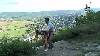 Long haired babe in miniskirt gets pounded doggystyle in the public