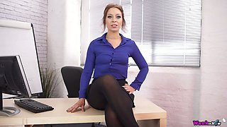 Flat chested secretary Jamie T masturbates in the office and gives a tugjob on POV camera