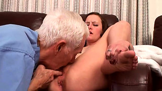 Old guy and young hottie in old vs young action