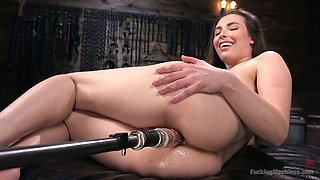 Professional model Casey Calvert is testing new vibrator and fucking machine