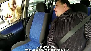Fasten his seatbelt but doesn't use cock rubber