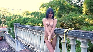 Sexy Latina Denisse Gomez moans while playing in outdoors