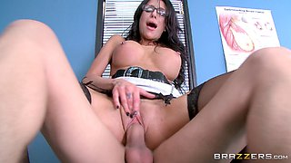 Seductive brunette doctor in glasses prescribes special treatment for her patient
