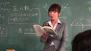 Sexy Japanese teacher blows a bunch of cocks