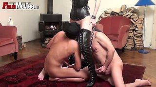Obedient guys lick and polish anus of hot mistress  Sarah Dark
