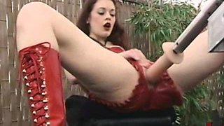 Redhead Wears Leather lingerie As She Gets Fucking By A Fucking Machine