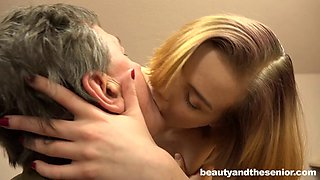 Sofia kissing her experienced lover Woody making him rocklike
