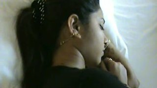 Sleepy busty Indian brunette wifey gets her twat nailed missionary