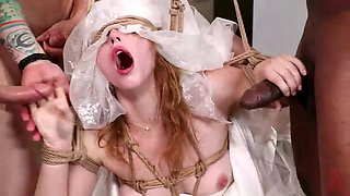 red haired bride gets punished and fucked