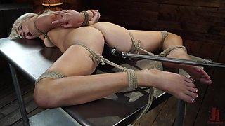 blonde babe gets lovingly machine fucked in rope bondage