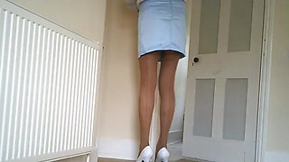 Blue miniskirt lace knickers