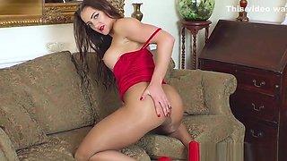 Big tits brunette wanks in ripped sheer pantyhose red heels
