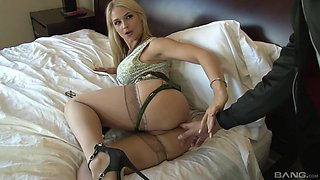Busty blonde feels it in the ass, and she loves it