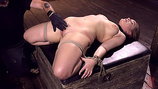 Busty submissive MILF Hadley Viscara has her pussy abused in bondage