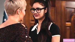 Lesbian milf highschool teacher eating nerd students pussy