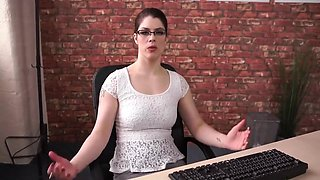 Teen dildo playing in office