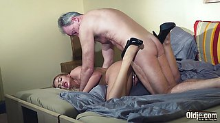 Old Man Dominated sexy hot blonde babe