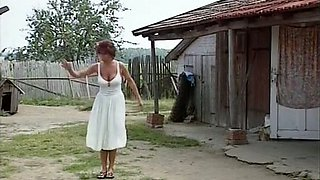 Beautiful and delicious redhead busty teen in the vineyard