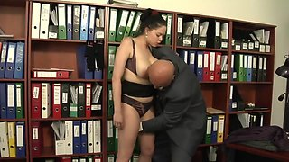 Shione Cooper - Old Boss Gives Extra Work For His Busty Secretary