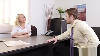 Office Blonde Luna Gives A Blowjob