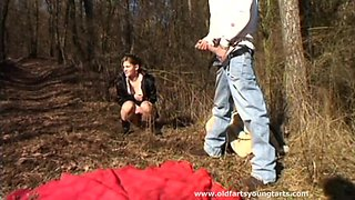 Forest sex between and older pervert and younger hottie Regina F