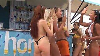 Bronze Tanned Georgina - White Bikini Exhibitionist Lesbian Friends