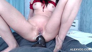 Hotkinkyjo big brown dong deep anal fuck, gape & prolapse