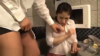 Japanese huge boobs maid fucked at work in hotel