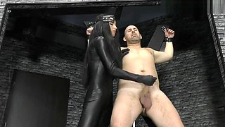 Mistress leather catsuit handjobs