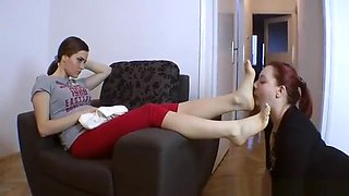 Female Slave Licking Mistress Feet