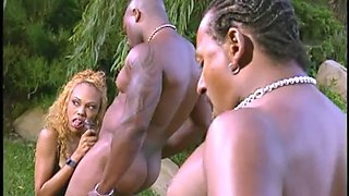 Outdoor foursome with horny black babes