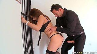 Beautiful Roberta Gemma and Nick Lang bait the hook in elevator