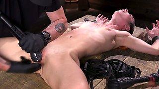 Brunette in glasses Serena Blair gets punished in the dark BDSM room