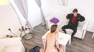 Amazing cuckold scene with a slender amateur chick
