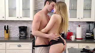 Voluptuous babe Riley Reyes is making love with her boyfriend in the kitchen