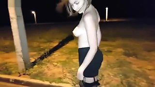 Public Insertion of Anal Beads and Dildo Fucking