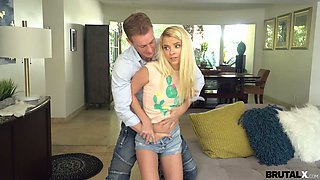 Very bad bad girl Riley is punished by angry step daddy with big hard dick