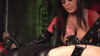 Latex loving mistress pleasures masked man