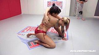 Jasmeen lefluer vs tori avano in lesbian sex wrestling fight